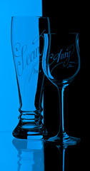 Glass (Sean J Tobin) Tags: light party stilllife black cold reflection beer glass silhouette modern bar design pub shiny aqua icons graphic wine image crystal drink background object magic decoration science alcohol simplicity setup wineglass shape isolated contour vino elegance sb800 helluva d40 darkfield brightfield aplusphoto eched