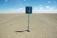 desert sign (Andrei Kharchenko) Tags: road travel sky sign sand desert mongolia mf
