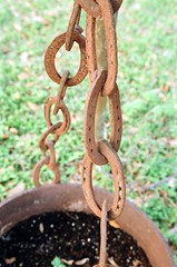 Closeup of the horseshoe chain (HDQH) Tags: texas tx central planter cauldron horseshoes buda canoneosrebelk2 ranchart canoneosrebelk2slr hdqh meredithwoodwenranch cecilmeredith