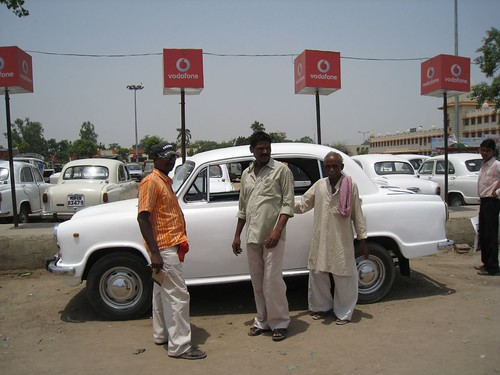 Typical white taxi in India
