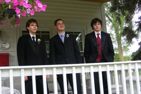 Prom Guys on Porch