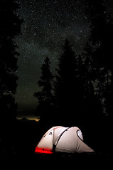 Universal Camping (Fort Photo) Tags: camping camp sky 3 mountains nature silhouette vertical night stars landscape star twilight nikon bravo colorado long exposure glow nightscape tent led backpacking astrophotography co astronomy glowing universe starry eyecandy msr afterdark milkyway d300 supershot routt mywinners goldenphotographer superfusion