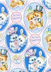 vintage wrapping paper (lorryx3) Tags: bunny vintage wrapping paper engagement lace kitty tophat vintagewrappingpaper