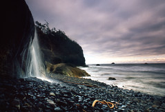 if you can't hug the point (manyfires) Tags: ocean sea film beach oregon coast waterfall shoreline pacificnorthwest hugpoint nikonfm eow visiongroup celorg