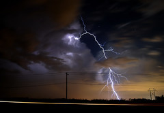 His Last Walk (David Parks - davidparksphotography.com) Tags: moon storm david oklahoma rain june night clouds stars lights star nikon long exposure branch telephone parks line carl bolt 16 lightning thunder edmond aplusphoto d40x bestofmywinners