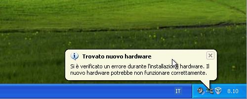 Fig. 6 - cartelle condivise - nuovo hardware non correttamente installato