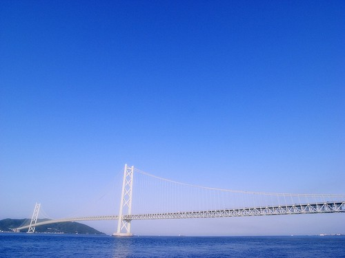 blue sky white bridge
