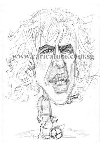 Caricature of Carlos Puyol pencil sketch watermark