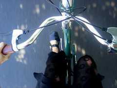whee! (velostricken) Tags: selfportrait black bicycle bicycling interestingness panda skirt cycle couture cruiser velo electra townie docmartens wickedwitch interestingness245 i500 electra8 townieelectra