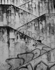 Lines (jorsan75) Tags: blackandwhite bw lines wall stairs plane graffiti alley mp3 diagonal upstairs scrawl filth zigzag vigo photodrome