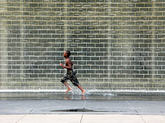 Running, Crown Fountain, Chicago, IL