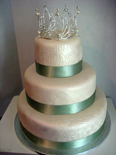 Ivory and sage green with pattern Wedding cake originally uploaded by