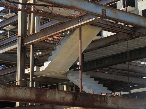 Exposed steel and concrete stairs