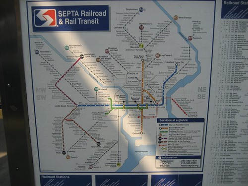 SEPTA Railroad and Rail Transit Map