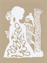 Bird Conversation (papercut) (Elsita (Elsa Mora)) Tags: show original bird art nature girl yellow vintage paper one design three miniature gallery hand looking handmade cut lace decorative knife craft off kind tiny etsy teeny elsa papercut graces detailed mora elsita