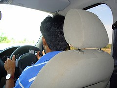 Nibu  - very much concentrated... (ArunaR) Tags: ford car driving fiesta son anoop irinjalakuda nibu