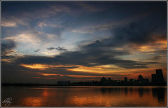 Causeway Sunset  - Overlooking Johor (dxsibo o(_)o) Tags: road sunset panorama west look over malaysia johor causeway admiralty singaore gnd tianya