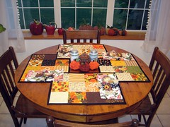Fall Table (aaaandreaaaa) Tags: fall halloween vintage pumpkin table mosaic sewing napkin pumpkins scarecrow moda placemat sunflowers sunflower napkins fuxico patchwork yoyo placemats yoyos fuxicos ballfringe vintagesaltandpeppershakers sandygervais modapumpkinsgonewild aaaandreaaaa