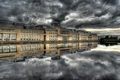 The Scottish Office (elementalPaul) Tags: sky reflection water clouds landscape grey scotland edinburgh pentax tripod leith hdr photomatixpro 5xp  scottishoffice k10d pentaxk10d