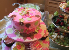 Baby Girl Harrison Butterfly Cakes (mandotts) Tags: pink baby green girl cake butterfly shower butterflies polka cupcake dots server tiered seve