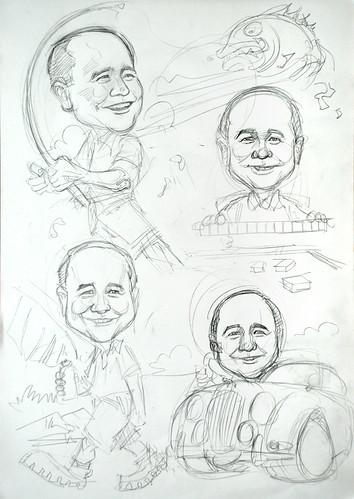 Caricature montage pencil sketch