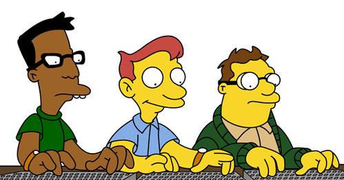 Empollones de la universidad de Los Simpson tecleando en sus inseparables ordenadores