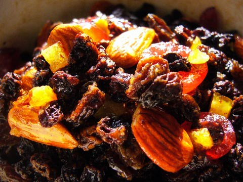 Soaking fruit for the Christmas cake by you.