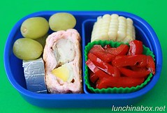 Baked chicken roll bento lunch for preschooler