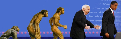evolution montage finishing with BLAAAARGH-McCain and dignified Obama
