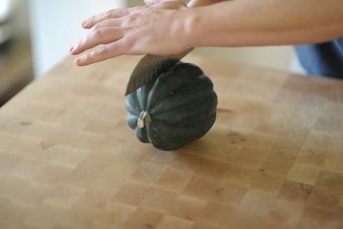 Acorn squash, first cut