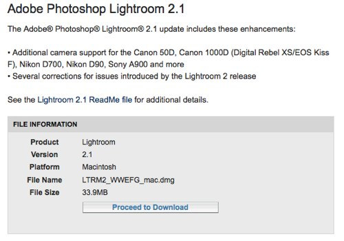 Expanded RAW support in Adobe Photoshop Lightroom 2.1
