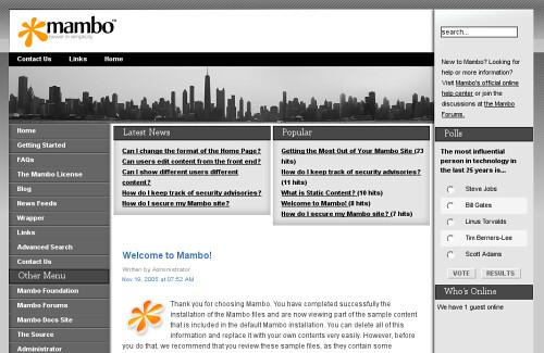 mambo fresh install homepage