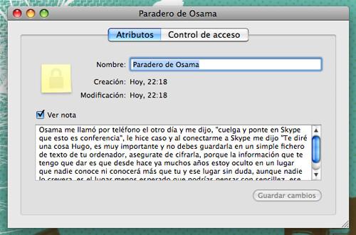 Captura de pantalla de la utilidad Acceso a Llaveros de Mac OS X mostrando una cita en claro