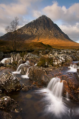 Buachaille Etive Mr From the River Coupall (The Classic Viewpoint) (David Kendal) Tags: glencoe buachaille goldenhour glenetive rannochmoor munro scottishhighlands buachailleetivemor stobdearg a82 scottishlandscape smallwaterfall scottishscenery watermovement scottishmountain rivercoupall