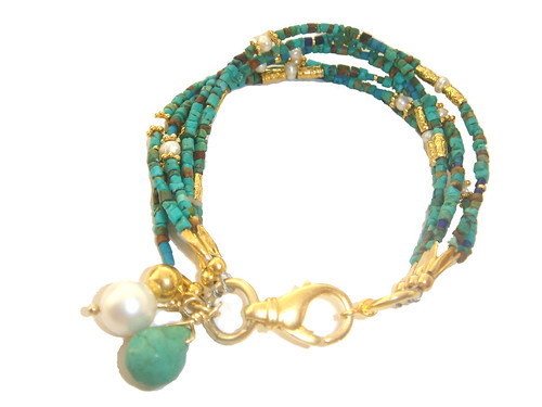 Turquoise - Pearl gold plated silver bracelet by toosis.