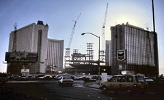 gm_03805 Las Vegas Excalibar Construction, Nevada 1989 (CanadaGood) Tags: usa lasvegas nevada nv construction analog hotel 1989 slidefilm america casino chevron gasstation crane sign seattlefilmworks slidecube blue color colour building traffic canadagood eighties text