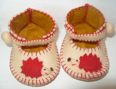 cream and gold anckle booties with hedgehog motifs (Funky Shapes) Tags: winter red baby cute animals gold shoes handmade gift kawaii hedgehog etsy booties dsm bootees wholesale sleepers folksy