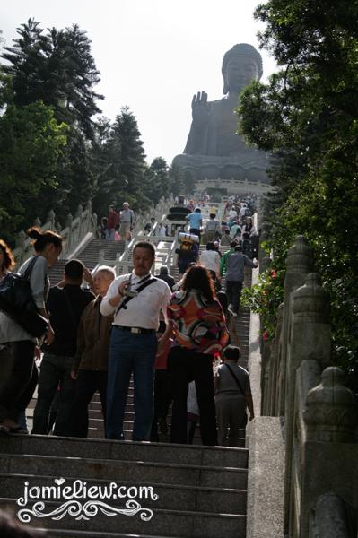 up the steps at ngong ping