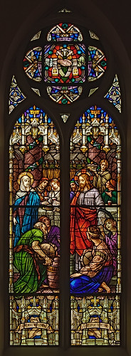 Saint Bernard Roman Catholic Church, in Albers, Illinois, USA - stained glass window of the Miracle at the Wedding Feast of Cana