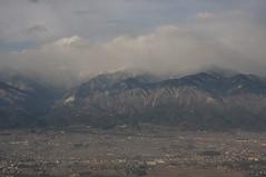 雲に隠れている常念岳