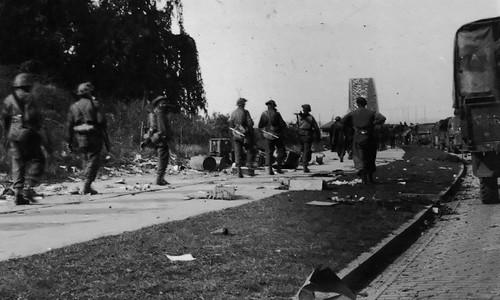 Allied Troops Crossing Waal Bridge Nijmegen 1944
