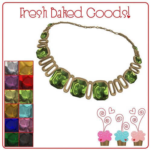 ~*FBG*~ Jujubes Gems Antique Gold Collar Necklace