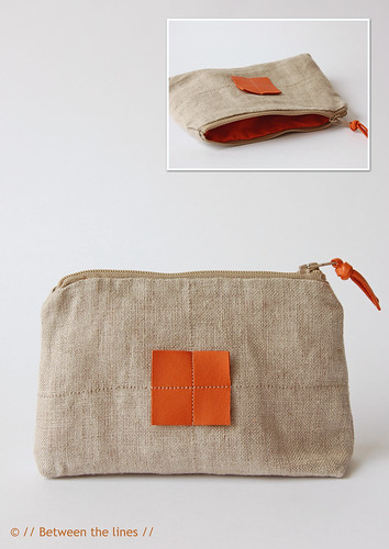 Linen with leather zippered pouch