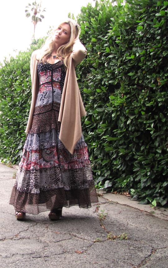 miu miu sandal clogs+ 70s dress-7