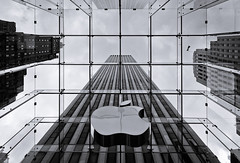 Apple at 5th Ave (apertu) Tags: nyc newyorkcity usa newyork apple glass clouds america canon logo store 5thavenue wideangle 12mm 5th 50d skycsraper