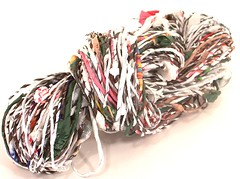 Upcycle Yarn with Paper Beads (jessprkle) Tags: beads knitting recycled crochet plastic yarn bags etsy skein repurposed handspun ecofriendly cassettetape grocerybags paperbeads upcycle trashion jessprkle plarn
