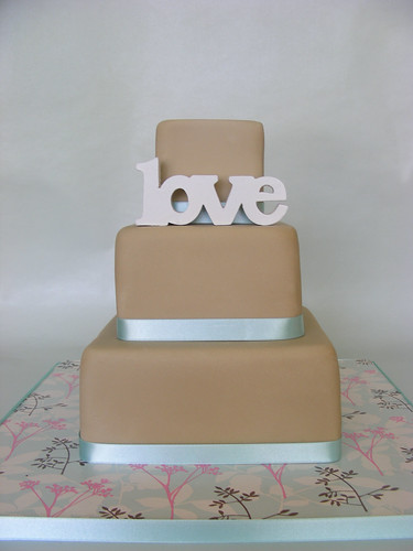 simple wedding cake. fudge cake inside