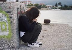 Hiding (Ed Chadwick) Tags: leica friends people film kodak greece portra m2 angeliki 160nc kiveri