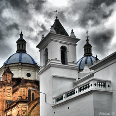 Cathedral Domes and Church Bell Tower (Bernai Velarde Photography ) Tags: church america ecuador cathedral sony south catedral iglesia sur cuenca velarde azuay dscr1 bernai