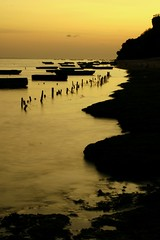 Kutuh gold (Farl) Tags: travel sunset bali seaweed colors indonesia boats gold coast farm horizon shore stakes nusadua cottonii mariculture kutuh